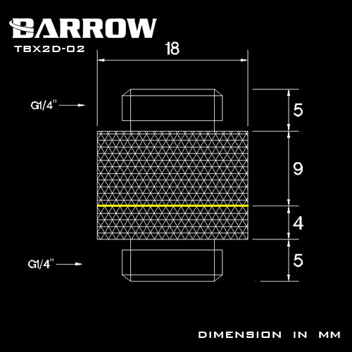 Barrow G1/4 Rotary Male Adaptor black