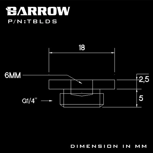 Barrow G1/4 Ultra Thin Stop Plug nickel silver