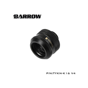 Barrow Hardtube Fitting 16mm black - 4 O-Rings